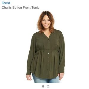 Torrid - Olive Green Challis Button Front Top NWT
